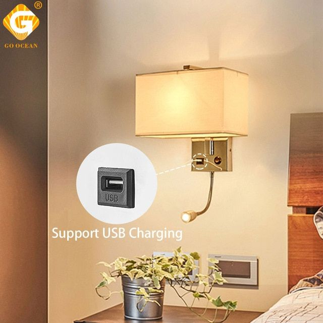Usb Led Wall Lights E27 Indoor Decorative Modern Cube Bedside Lamp