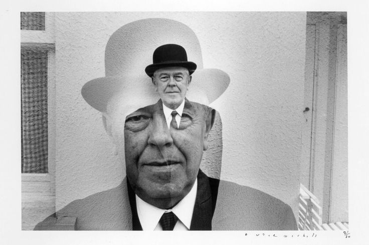 Duane Michals, Rene Magritte in Bowler Hat (Multiple Exposure), 1965