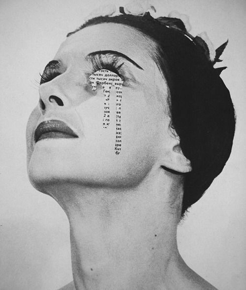 """et bah - APOLOGIE"" The use of cutting out the models eye suggests that she does not want people to see her crying, although it is obvious to the audience. This image links with the idea of hidden emotions."