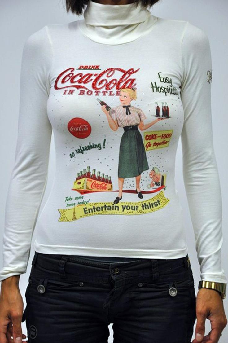 Fix Design T-shirt manica lunga donna col.Bianco, collo alto, linea Coca Cola