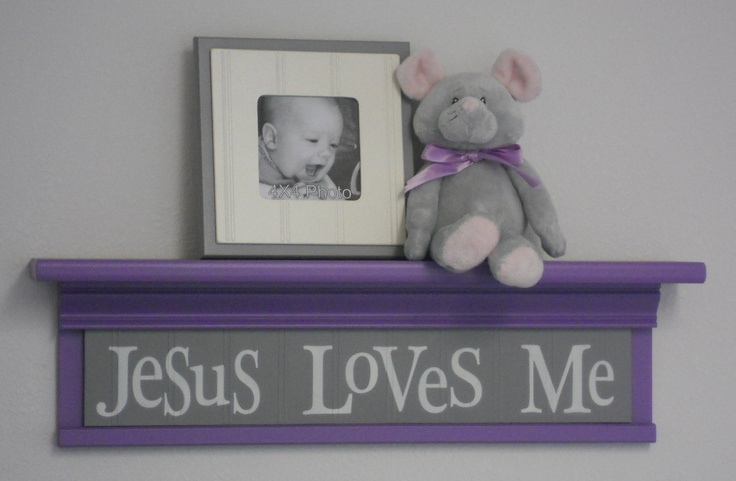 "Purple and Gray Baby Nursery - Jesus Loves Me - Sign on 24"" Shelf Lavender Christian Wall Art for Nursery. $40.00, via Etsy."
