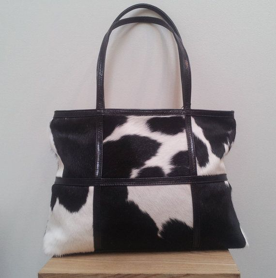 Cowhide handbag, LeatherTote bag style in black and white New Zealand cowhide, Pony Hair