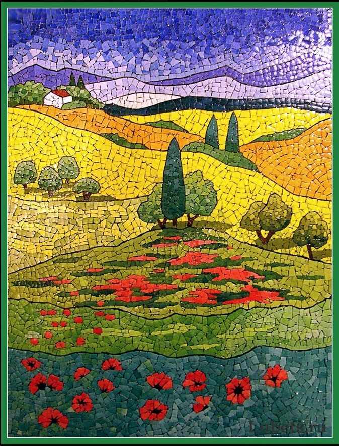 Landscape Mosaics | Eggshell mosaic - landscape