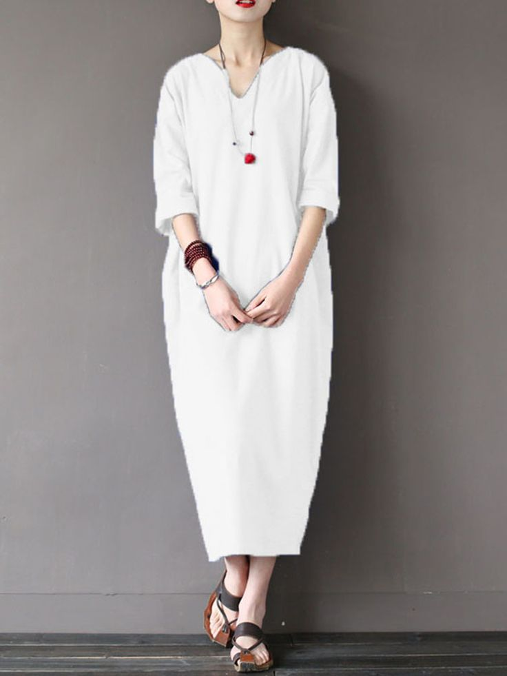 ZANZEA Pure Color V-neck Loose Kaftan Half Sleeve Dresses For Women