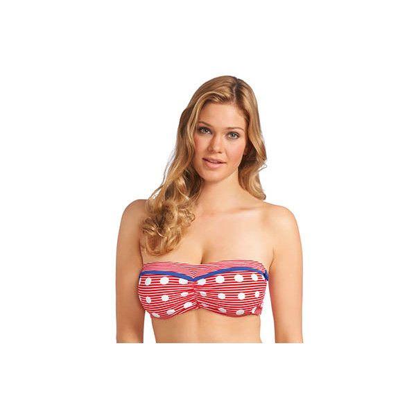 Freya AS3464 Hello Sailor Underwire Bandeau Bikini Swim Top ($25) ❤ liked on Polyvore featuring swimwear, bikinis, bikini tops, triangle bikini, bandeau bikini top, bow bikini top, underwire halter bikini and polka dot bikini top