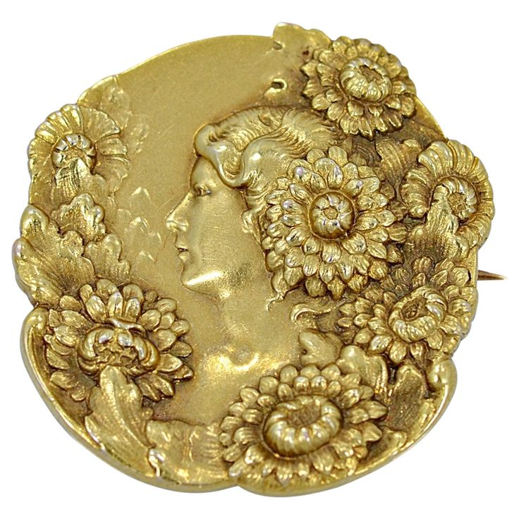 Art Nouveau Profile Of Lady With Flowers Gold Brooch/Pin | From a unique collection of vintage brooches at https://www.1stdibs.com/jewelry/brooches/brooches/