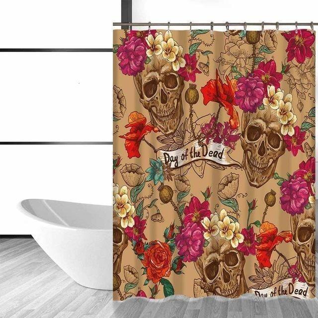 Flower Sugar Skull Shower Curtain Sugar Skull Shower Curtain Skull Shower Curtain Fabric Shower Curtains