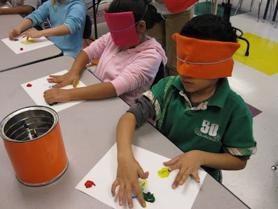 Jackson's Art Room- after reading about Helen Keller, the children were blindfolded and without any vocal instruction, painted by feeling. It was great!