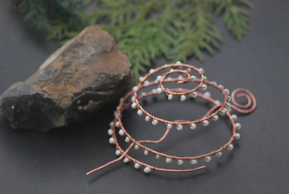 Wedding barrette copper Hair clip Hair stick Women Large Copper Hair Slide Spiral Hair Slide Hammered hair sticks Oxidized Wire Bun cage Barrette copper for medium to thick hair adorned with beads. About the healing properties of copper has been known since ancient times. Metal