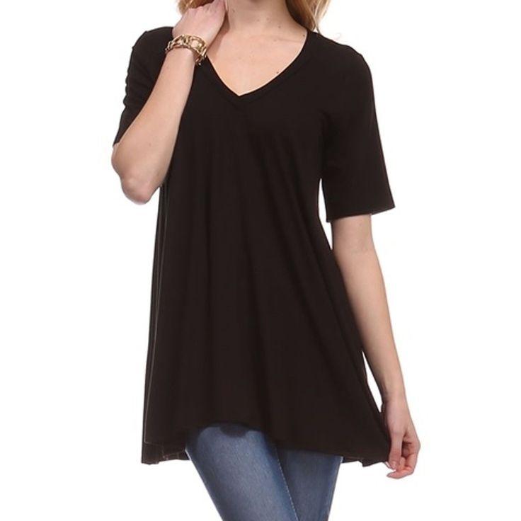 V Neck Drape Top Womens Tee Shirt A Line Short Sleeve Loose T-Shirt