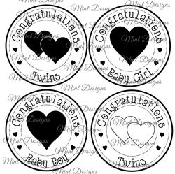 NEW BABY digi stamp set  Baby Girl  Baby Boy  Twins  Congratulations  Circle sentiment stamp  on Craftsuprint - View Now!