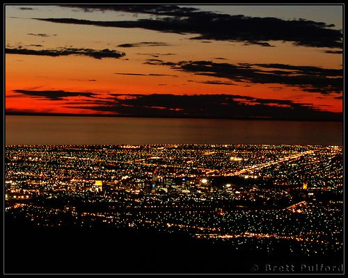 View over Adelaide from Mt Lofty at night.