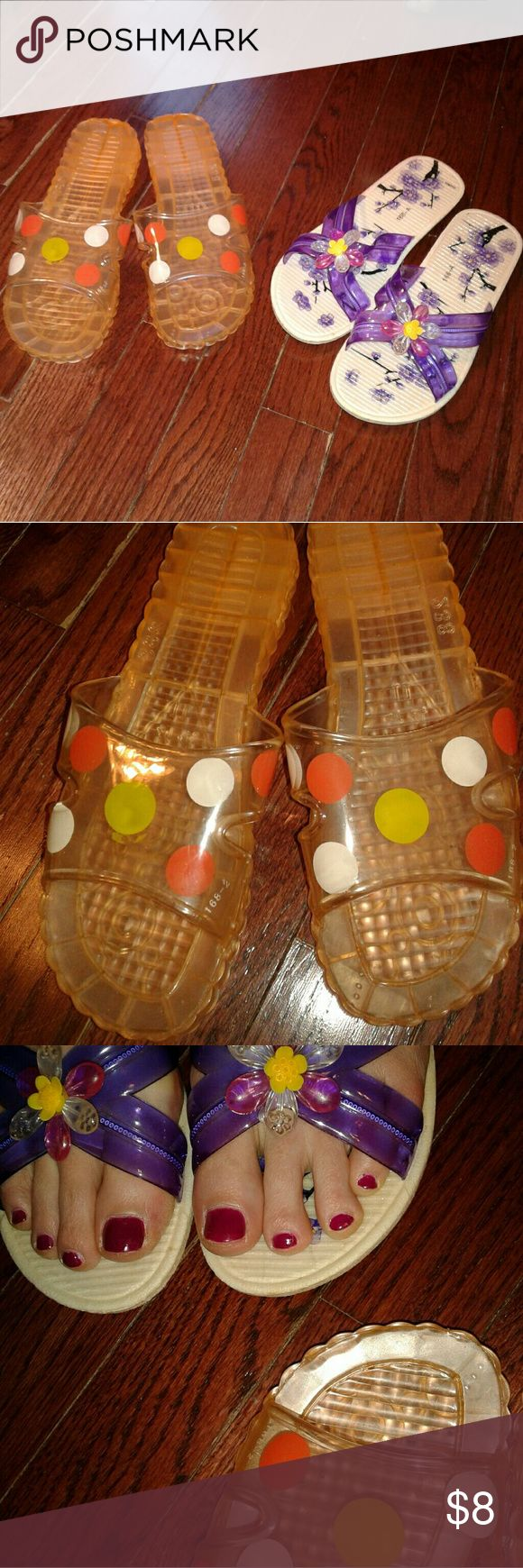 Girls/Womans Jelly Shoes Bundle of 2 pairs of adult size 6.5 jelly shoes  GUC Shoes