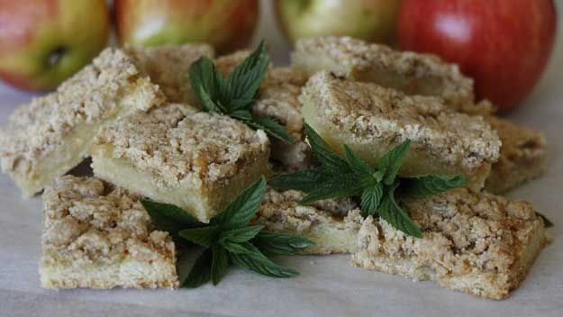 These Apple crumble biscuits hark back to that time, but without the mouth cloying effects. They are buttery and sweet and can be made relatively quickly – certainly as quick as a 1970s packet instruction anyway.