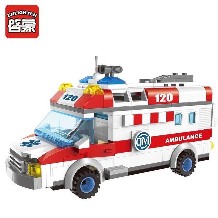 Enlighten New 1118 Block Ambulance Series DIY 328pcs Bricks Truck Building Blocks Toys for children Kids Gift Playmobil Block