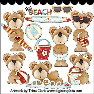 Beach Bears 1 Clip Art