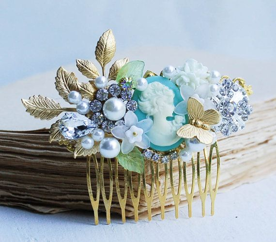 Bridal HAIR COMB Gold Vintage Hair Accessory by redtruckdesigns Bridesmaid gift idea for blue, turquoise  or gold themed weddings