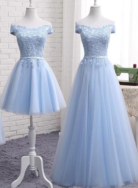 Light Blue Tulle Bridesmaid Dress, Cap Sleeves Short Bridesmaid Dress, Wedding Party Dress