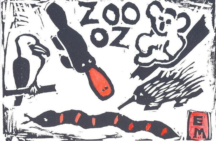 "Edith May ""Zoo Oz"" Linocut hand coloured $20"