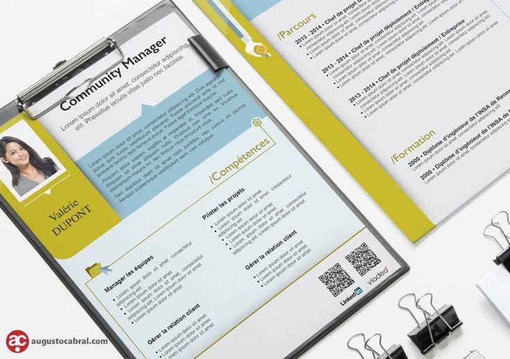 Conception et création graphique de CVs et chemise à rabats. Augusto Cabral | Graphiste Webdesigner | Rennes www.augustocabral.com