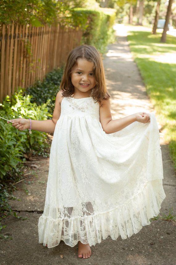 Girls Maxi Dress, Lace, Flower Girl Dress, Rustic Wedding, Baptism Dress, Destination Wedding, Ivory, White, Girls Boho Dress