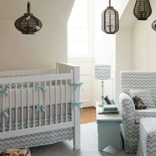 Mist and Gray Chevron Crib Bedding | Baby Bedding in Blue and Gray Zig Zag Stripes | Carousel Designs