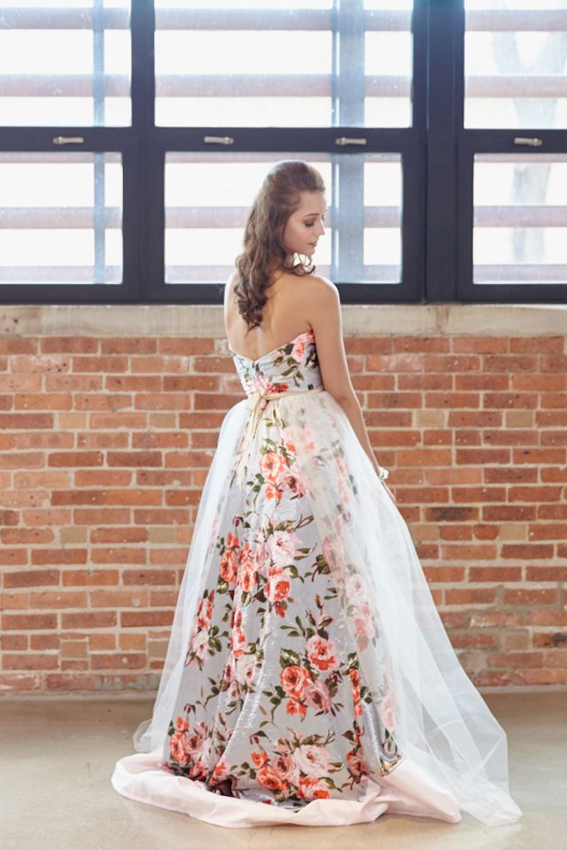 Floral print wedding dress | WojoImage Photography | see more on: http://burnettsboards.com/2015/03/bright-bold-watercolor-wedding/