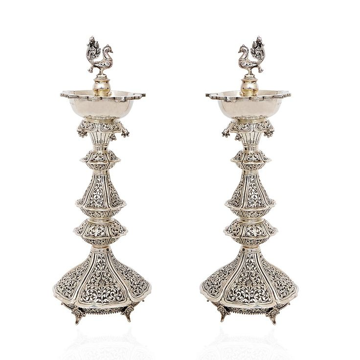 92.5Silver | 92.5 Silver Peacock Diya with Antique Finishing | GRT Jewellers