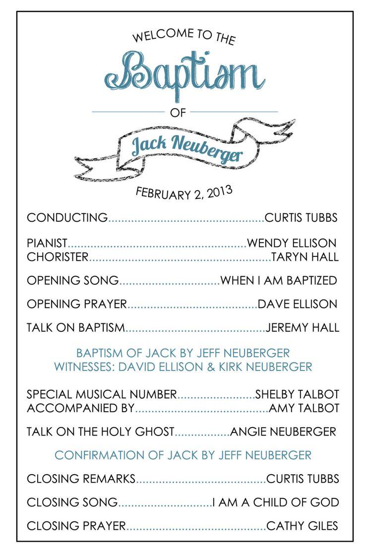 LDS Baptism Program Template