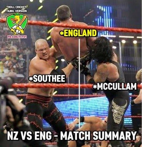 England is an eco-friendly team. Intentionally finished a day-night match in daylight to save electricity of flood lights.#NZvENG  Today in World Cup: Tim Southee Destroyed England!! B McCullum   Raped England!! #NZvENG Kids on England Game Jokes  3 year old kid: Dad, who invented cricket? Dad: It's England, son! Kid: Nahi batana hai to mat …