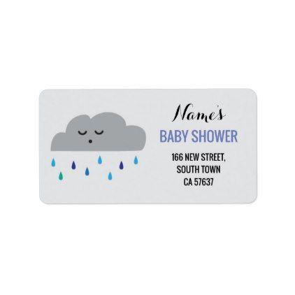 Address Labels Blue Boy Baby Shower Cloud Rain - return address gifts label labels cards diy cyo