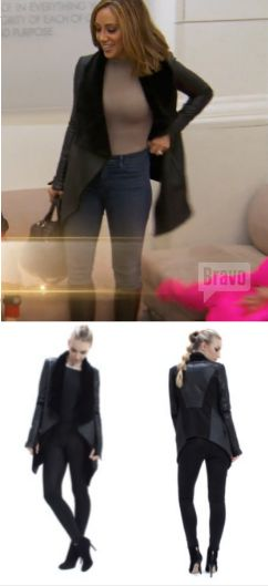 Melissa Gorga's Black Draped Shearling Leather Jacket http://www.bigblondehair.com/real-housewives/rhonj/melissa-gorga-fashion/melissa-gorgas-black-draped-leather-jacket/ Real Housewives of New Jersey Season 7 Episode 5 Fashion Blanc Noir