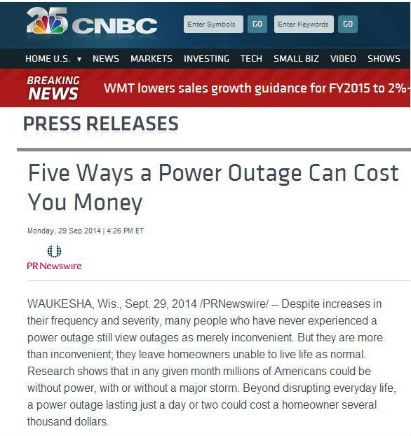 CNBC article about the many ways a power outage can cost you money $$ - very true and very serious issue if you don't have $ to spare especially! Power outages add up to billions in money lost to companies each year as well as food/items damaged/lost in homes around the country. Call for a FREE ESTIMATE on backup home generators! 214-202-7474 http://www.dallaslandscapelighting.net