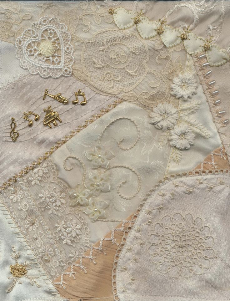 Viv's Crazy Quilting Journey: Cream-on-Cream Quilt Blocks