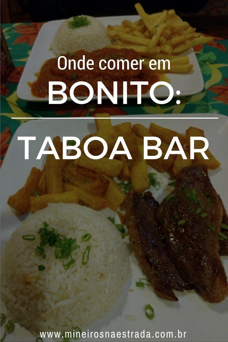 Procura onde comer em Bonito? No Taboa Bar, há caldos, porções, sanduíches e refeições, além de várias bebidas, incluindo as famosas cachaças Taboa. Clientes podem deixar sua assinatura na parede!