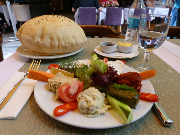 A plate of meze for lunch in Istanbul, yummy!