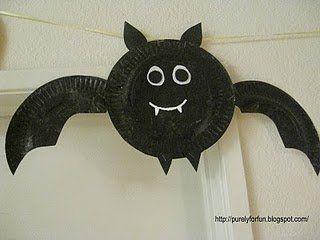 Paper plate bat craft I did googly eyes and those fasten things that make the wings moveable! Maybe to use with Stellaluna? & 11 best images about Halloween on Pinterest | Tissue paper Pumpkins ...