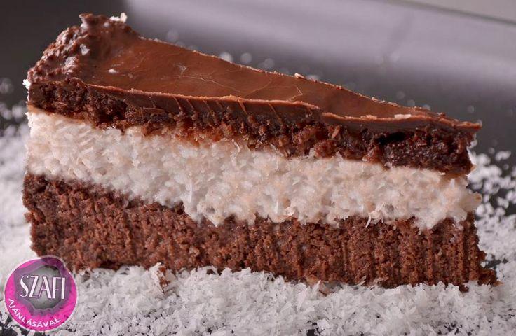 Vegán Bounty Torta (Éhezésmentes Karcsúság Szafival ) kókuszreszelék,étcsoki a tetejére