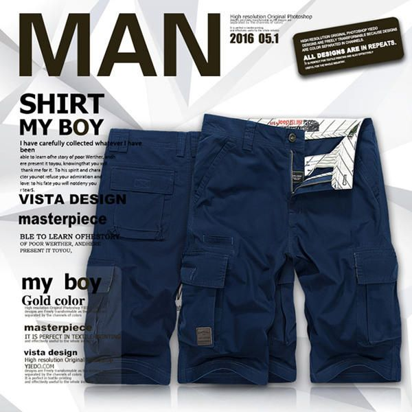 AFSJEEP Summer Mens 30-44 Size Multi-Pocket Cargo Shorts Fifth Breathable Loose Casual Shorts at Banggood