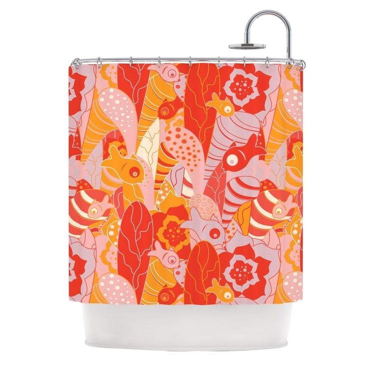 """Kess InHouse Akwaflorell """"Fishes Here, Fishes There"""" Orange Red Shower Curtain"""