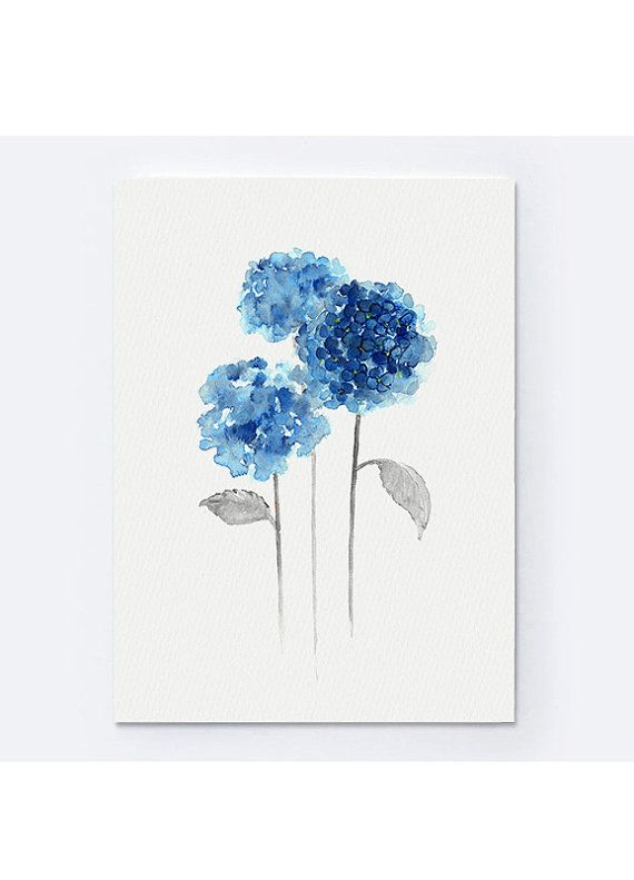 Ortensia Giclee stampe acquerello fiore ortensie pittura blu