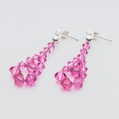 Swarovski Bicone Earrings 45mm Rose  Dimensions: length: 4,5cm stone size: 4 and 6mm Weight ( silver) ~ 0,90g ( 1 pair ) Weight ( silver + stones) ~ 3,90g Metal : sterling silver ( AG-925) Stones: Swarovski Elements 5328 4 & 6mm Colour: Rose 1 package = 1 pair  Price 7 EUR