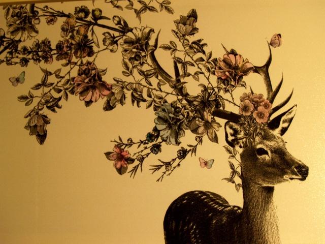 Floral Antler Tattoo: Deer With Floral Antlers - Wall Art Or Framed.