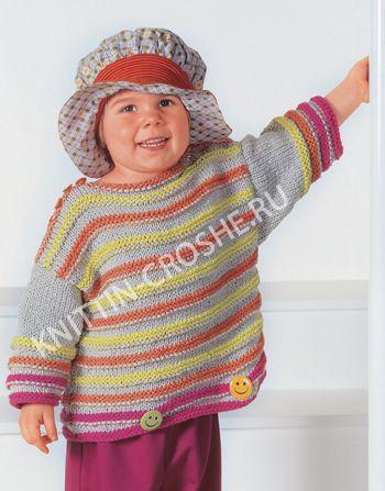 Вязаный джемпер со смайликами для девочки