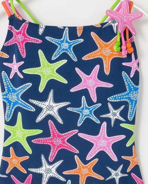 a82acc1b23ee Bañador de niña B con B azul marino con estrellas | B con B 2019 ...