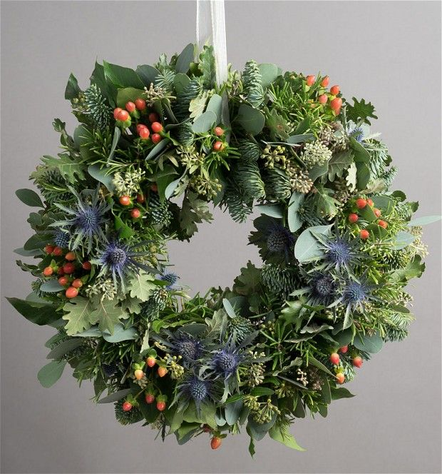 Highland    wreath    Scotland lovers will love this striking hand-made wreath, decorated with    berries, herbs and, of course, thistles. It's on an oasis base, so is easily    watered, and should last well over the festive period. £49.99, Not on the    High Street.   Buy    a traditional Christmas wreath from Telegraph Shop