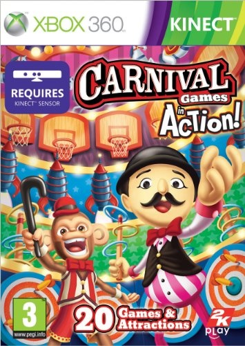 Top 50 Xbox 360 Games 2013. 'Carnival Games: In Action' was built from the ground up to take full advantage of the innovative technology found in 'Kinect for Xbox 360'. Five theme-parks set the stage for players to swing away in the 'Batting Cage', avoid twisting tornadoes in the 'Hot Air Balloon Race', take a galactic journey to the red planet in 'Rocket to Mars' and much, much more... Only £6.73