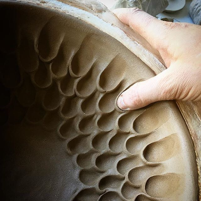 "Australian potter @kanimblaclay for #PIAtexture ""Making marks: I love that my thumb print is in each one"