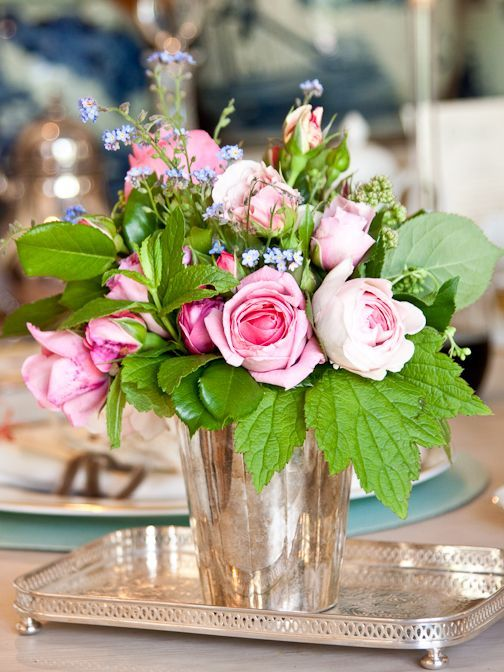 Charming arrangement in a mint julep cup