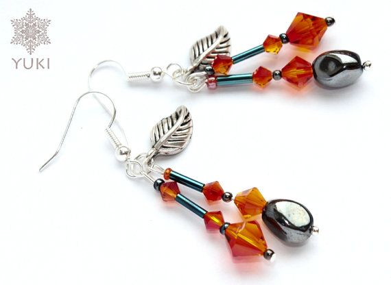 Silver plated earrings with fiery red Swarovski by YUKIJewellery, €18.50